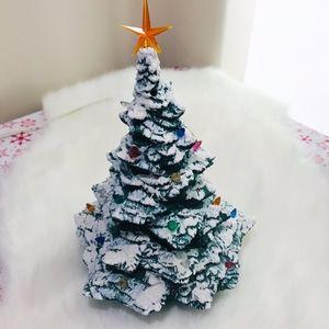 """Vintage ceramic flocked Christmas tree 11"""""""